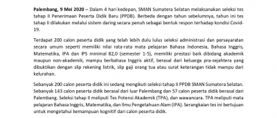 TES TAHAP II PPDB SMAN SUMSEL